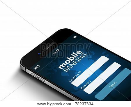 Mobile Phone With Mobile Banking Screen Over Dollars