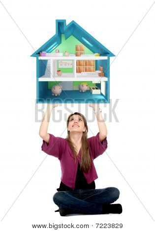 Casual Girl Lifting A Piggyhouse