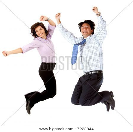 Business Couple Jumping