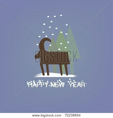 Christmas goat with Snowflakes symbol of New Year Holiday vector
