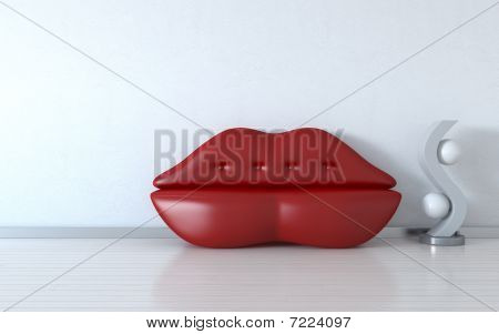 Red Lips Couch And Light