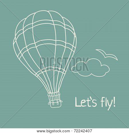 Vector illustration of hand drawn hot air balloon