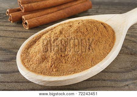 Closeup Cinnamon Spoon