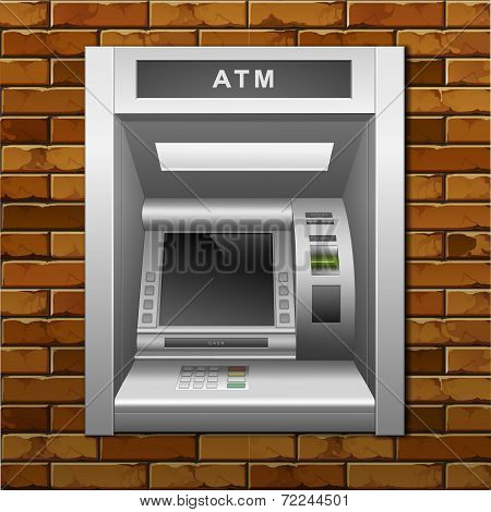ATM Bank Cash Machine on a Brick Wall Background