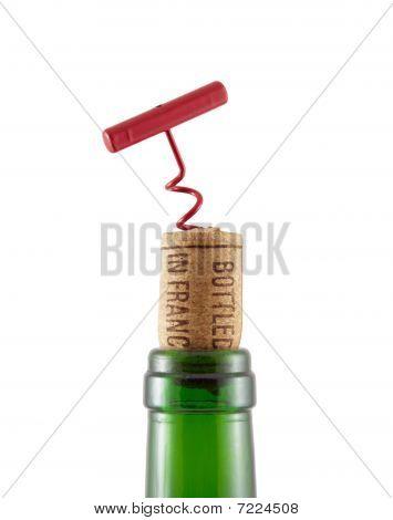 """Bottleneck, Cork With Inscription """"bottled In France"""" And Bottle-screw"""
