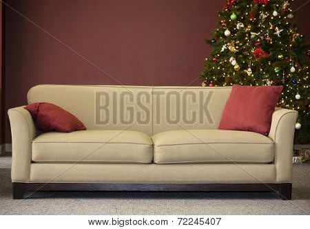 Couch and Christmas Tree