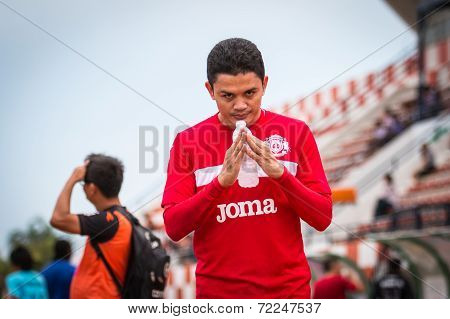 Sisaket Thailand-september 17: Sarayuth Chaikamdee Of Sisaket Fc. In Action During Ahead Unofficial