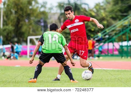 Sisaket Thailand-september 17: Gorka Unda Of Sisaket Fc. In Action During Unofficial Friendly Match