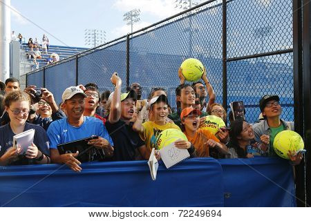 Tennis fans waiting for autographs at Billie Jean King National Tennis Center