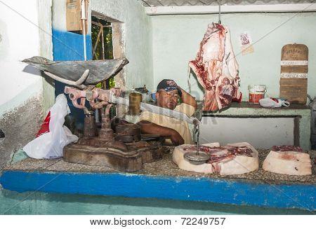 Village butcher shop.