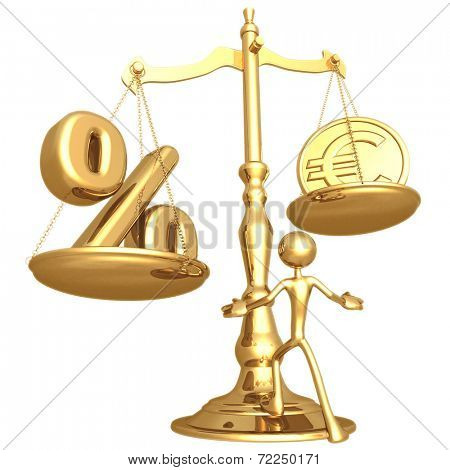 Unbalanced Golden Scale Percentage And Gold Euro Coin