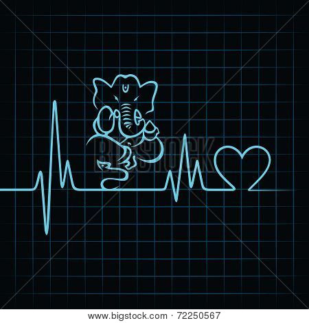Heartbeat make a lord ganesha and heart symbol stock vector