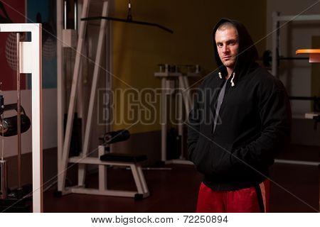 Portrait Of Caucasian Muscle Man In Hoody