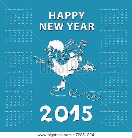 Calendar 2015 Year of Sheep. Cartoon sheep skate