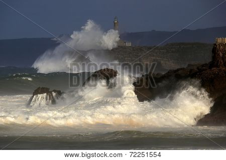 Raging Waves On The Cantabrian Sea Coast