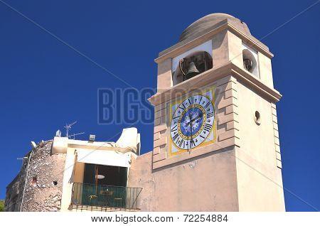 Beautiful historical tower clock on Capri island, Italy