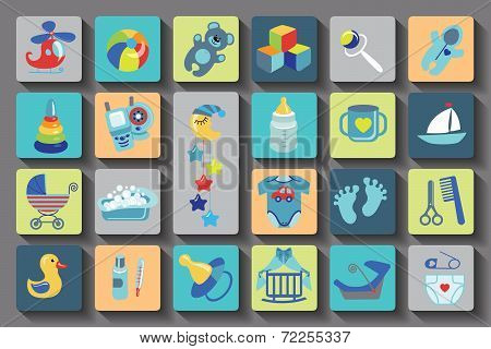 Newborn Baby boy set.Flat Icons with long shadow