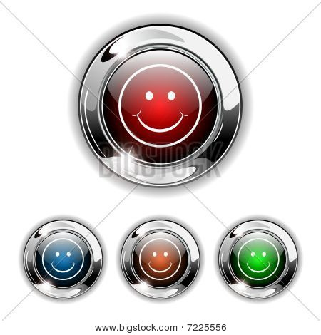 Smile icon, button, vector illustration.