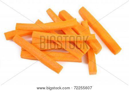 Fresh Carrots Sticks On White Background