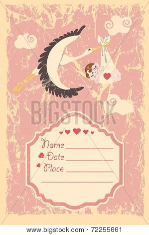 Baby shower invitation.Stork ,newborn baby girl,grunge backgroun