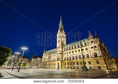 Hamburg Town Hall At Night