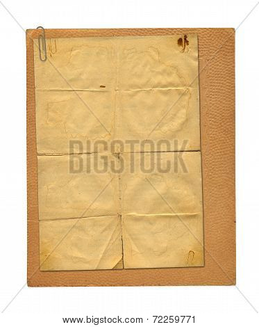 Set Of Old Archival Papers And Vintage Postcard Isolated On White Background