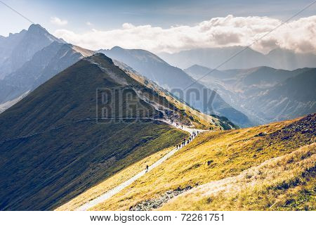 Path On The Steep Side Of Kasprowy Wierch In Tatra Mountains And A View Of The Border Between Poland