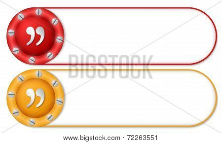 Set Of Two Buttons With Screws And Quotation Mark