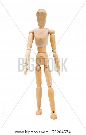 A Wooden Mannequin Isolated On White Background