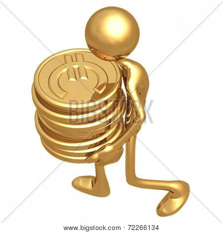 Man Carrying A Stack Of Gold Euro Coins In His Hands