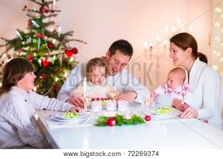 Happy Family At Christmas Dinner