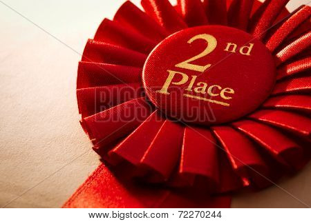 2Nd Place Winners Rosette Or Badge In Red
