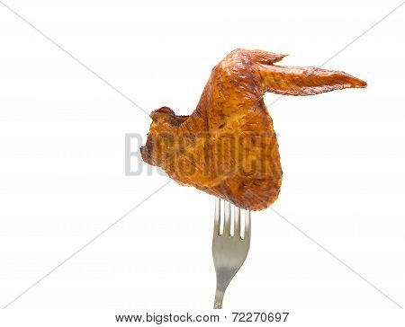 Smoked Chicken Wings On A Fork. White Background