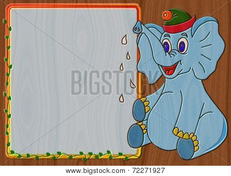 Elephant Relief Painting On Generated Wood Texture Background