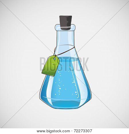 Stock laboratory flask on a light background
