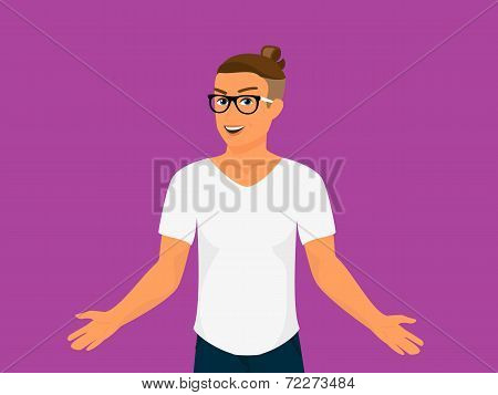 Hipster guy wearing small ponytail