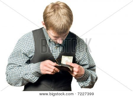 No Money - Businessman With One Dollar