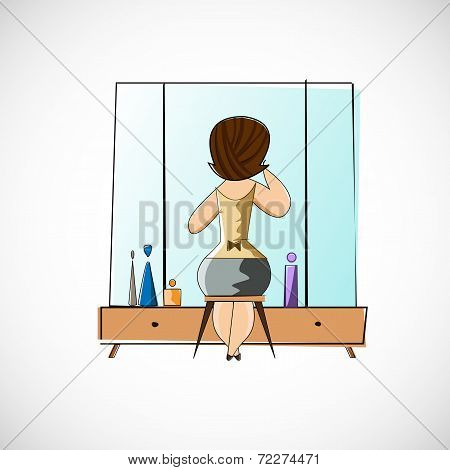 Girl preens before a mirror. Vector sketch