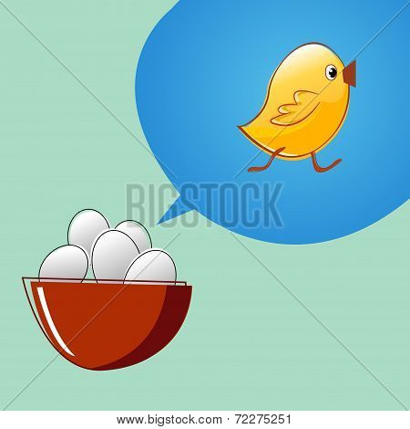 Eggs are thinking that they will become chickens