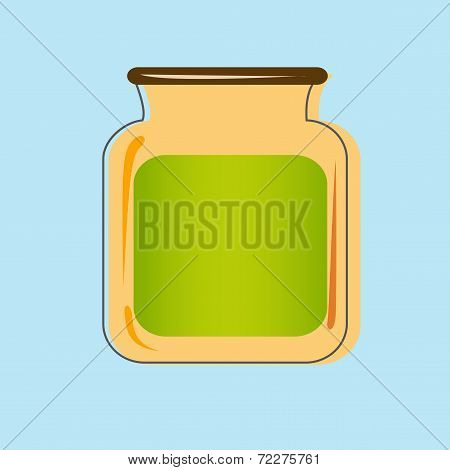 Bank with home canned fruit juice. Vector design