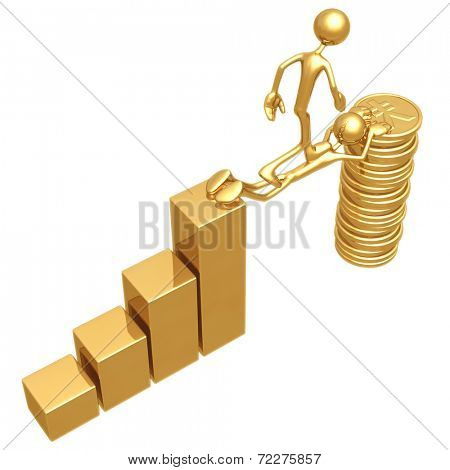 Sacrifice Bridge Between A Bar Graph And A Gold Yen Coin Stack
