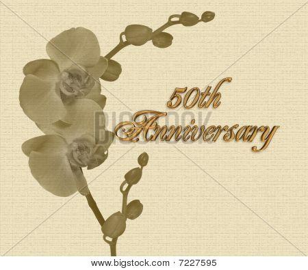 50th Anniversary orchids  invitation