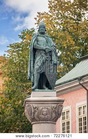 Statue Of Birger Jarl On Obelisk In Stockholm.