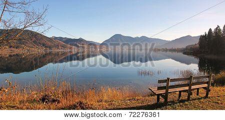 Autumnal View To Lake Tegernsee