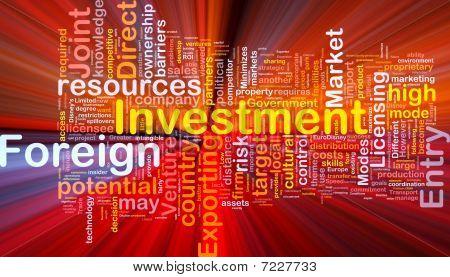 Auslandsinvestitionen Hintergrund Konzept glühend
