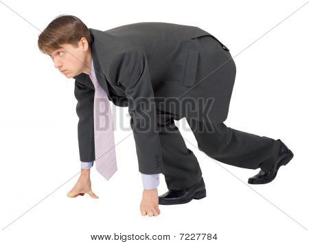 Businessman Ready To Compete On White Background