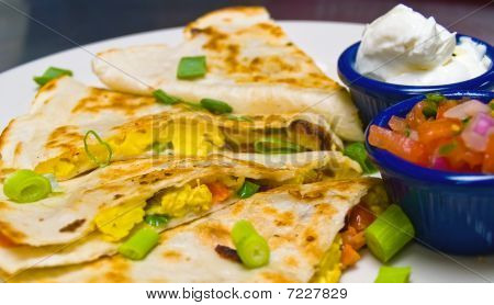 Breakfast Quesadilla With Sour Cream And Salsa