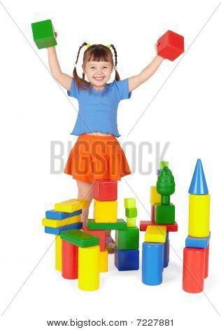 Joyful Child - Builder Isolated On White Background