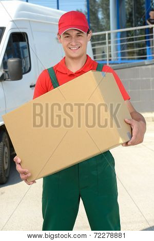 Smiling young male postal delivery