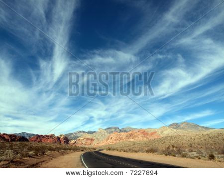 Wispy Desert Highway Clouds.